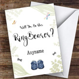 Leaves Watercolour Will You Be My Ring Bearer Personalised Greetings Card