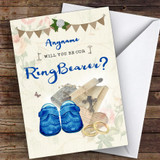 Vintage Shoes Will You Be My Ring Bearer Personalised Greetings Card