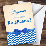 Blue Bowtie Will You Be My Ring Bearer Personalised Greetings Card