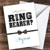 Bow Tie Will You Be My Ring Bearer Personalised Greetings Card