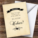 Black Floral Cardboard Will You Be My Usher Personalised Greetings Card
