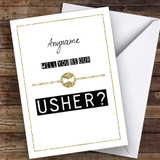 Black & White Bow Tie Will You Be My Usher Personalised Greetings Card