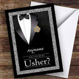 Black Suit Sparkles Will You Be My Usher Personalised Greetings Card