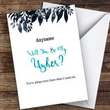 Black Watercolour Will You Be My Usher Personalised Greetings Card
