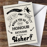 Rustic Will You Be My Usher Personalised Greetings Card