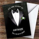 Tuxedo Will You Be My Usher Personalised Greetings Card