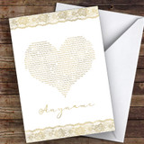 Rose Gold Text Heart Question Will You Be My Witness Personalised Greetings Card