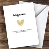 Simple Gold Heart Will You Be My Witness Personalised Greetings Card