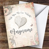 Vintage Floral Will You Be My Witness Personalised Greetings Card