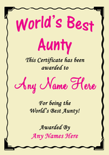 Aunty Best In The World Award Personalised Certificate