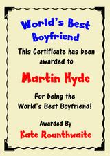 Boyfriend Best In The World Award Personalised Certificate