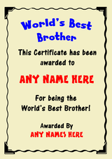 Brother Best In The World Award Personalised Certificate