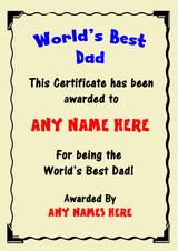 Dad Best In The World Award Personalised Certificate