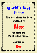 Fiancé Best In The World Award Personalised Certificate