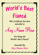 Fiancé Pink Best In The World Award Personalised Certificate
