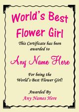 Flowergirl Best In The World Award Personalised Certificate