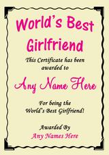 Girlfriend Best In The World Award Personalised Certificate