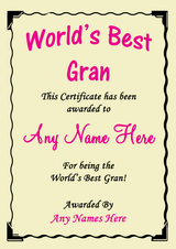 Gran Best In The World Award Personalised Certificate