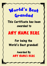 Grandad Best In The World Award Personalised Certificate