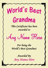 Grandma Best In The World Award Personalised Certificate