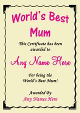 Mum Best In The World Award Personalised Certificate