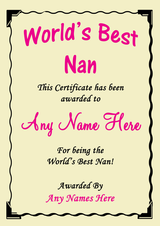 Nan Best In The World Award Personalised Certificate