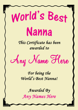 Nanna Best In The World Award Personalised Certificate