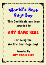 Page Boy Best In The World Award Personalised Certificate