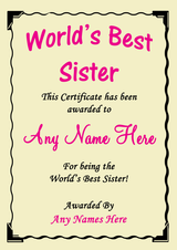 Sister Best In The World Award Personalised Certificate