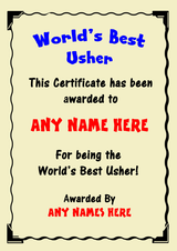 Usher Best In The World Award Personalised Certificate