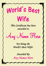 Wife Best In The World Award Personalised Certificate
