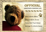 Bear Soft Toy Personalised Adoption Certificate