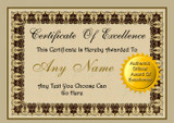 Fully Personalised Certificate Award Of Excellence You Choose Text
