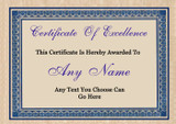 Fully Personalised Certificate Award Of Excellence You Choose Text Blue