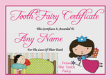 Pink Personalised Tooth Fairy Certificate