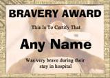 Poorly Teddy Bear Bravery Award Personalised Certificate Hospital