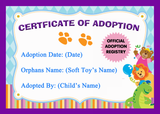 Soft Toy Teddy Bear Official Personalised Adoption Certificate