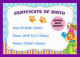 Soft Toy Teddy Bear Official Personalised Birth Certificate