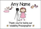 Thank You For Being Our Wedding Photographer Female  Personalised Printed Certificate