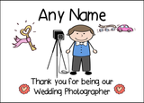 Thank You For Being Our Wedding Photographer Male  Personalised Printed Certificate