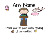 Thank You For Doing A Reading At Our Wedding Boy  Personalised Printed Certificate