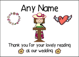 Thank You For Doing A Reading At Our Wedding Woman  Personalised Printed Certificate