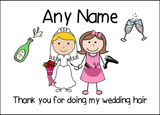 Thank You For Doing My Wedding Hair  Personalised Printed Certificate