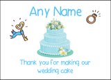Thank You For Making Our Wedding Cake Blue  Personalised Printed Certificate