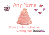 Thank You For Making Our Wedding Cake Coral  Personalised Printed Certificate
