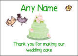 Thank You For Making Our Wedding Cake Green  Personalised Printed Certificate