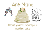 Thank You For Making Our Wedding Cake Ivory  Personalised Printed Certificate