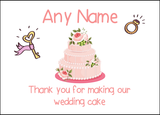 Thank You For Making Our Wedding Cake Pink  Personalised Printed Certificate