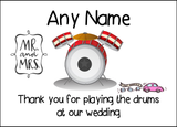 Thank You For Playing The Drums At Our Wedding  Personalised Printed Certificate