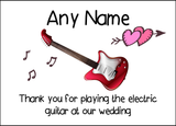 Thank You For Playing The Electric Guitar At Our Wedding  Personalised Printed Certificate